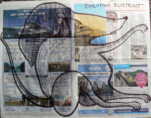 Evolution Blueprint newspaper drawings by Ronald Rae
