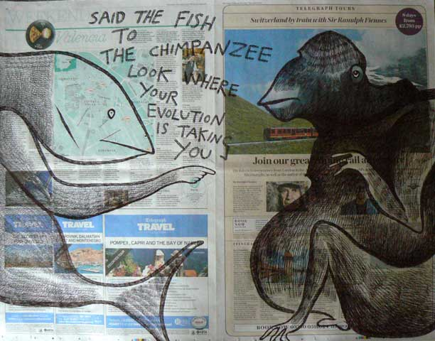 Said the Fish to the Chimpanzee newspaper drawing by Ronald Rae