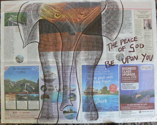 The Peace of God be upon You newspaper drawing by Ronald Rae