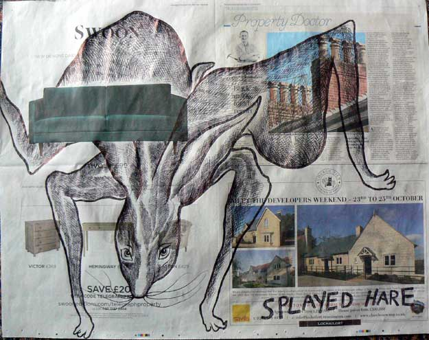 Splayed Hare newspaper drawings by Ronald Rae