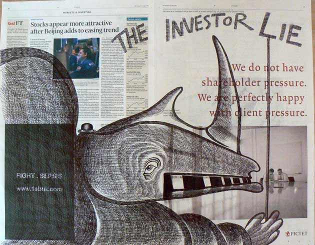 The Investor Lie newspaper drawing by Ronald Rae