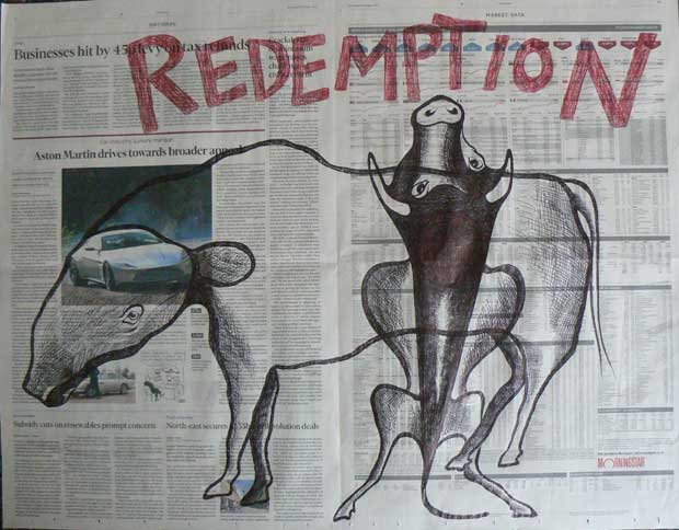 Redemption newspaper drawing by Ronald Rae