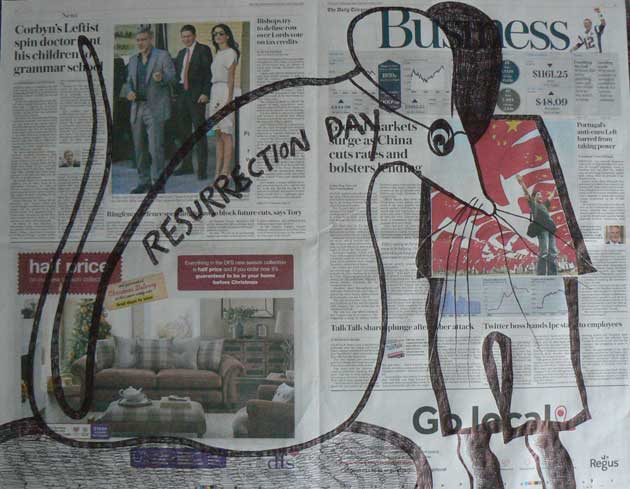 Resurrection Day newspaper drawings by Ronald Rae