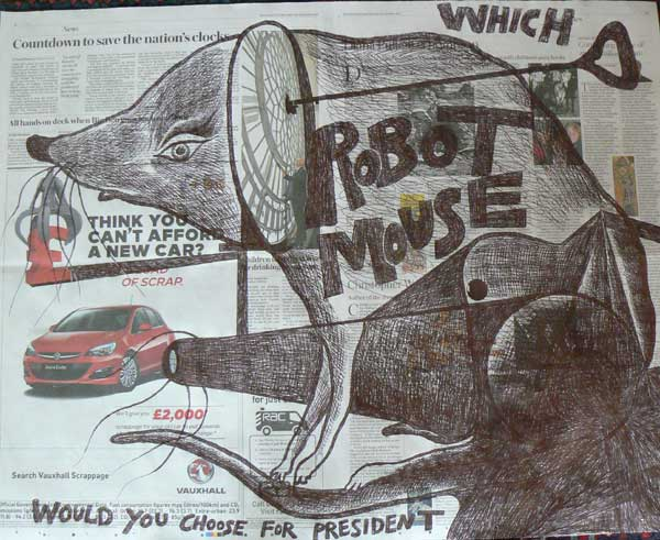 Which Robot Mouse newspaper drawing by Ronald Rae