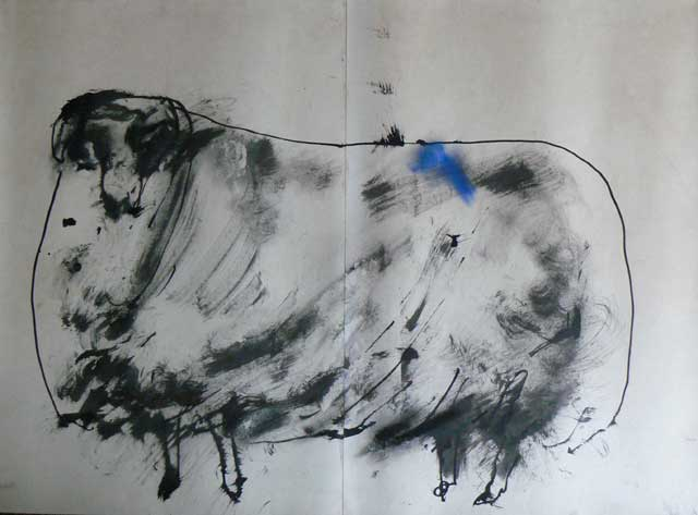 Sheep No 2 drawing by Ronald Rae