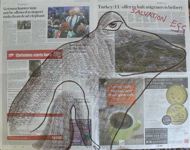 Salvation Egg newspaper drawings by Ronald Rae