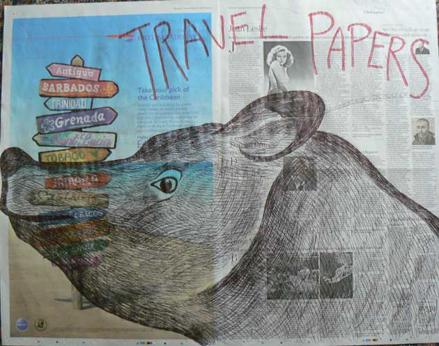 Travel Papers newspaper drawing by Ronald Rae
