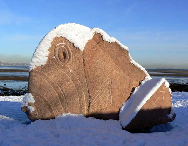 Cramond Fish in Snow sculpture by Ronald Rae