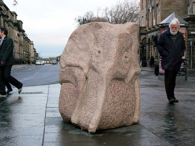 Baby Elephant at Edinburgh's West End sculpture by Ronald Rae
